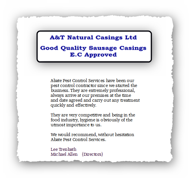 This is an image of a commercial testimonial from A & T Casings for Pest Control Glossop.