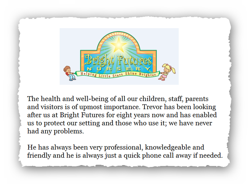 This is an image of a commercial testimonial from Bright Futures for Pest Control Glossop.