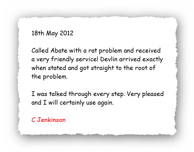 This is an image of a domestic testimonial for Pest Control Glossop.