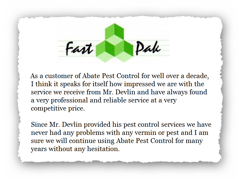 This is an image of a commercial testimonial from FastPak for Pest Control Glossop.