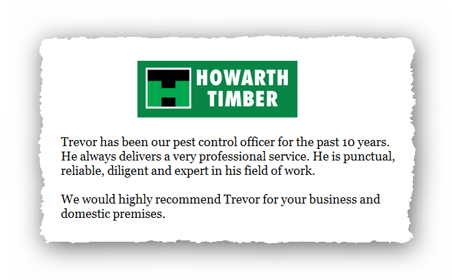 This is an image of a commercial testimonial from Howarth Timber for Pest Control Glossop.