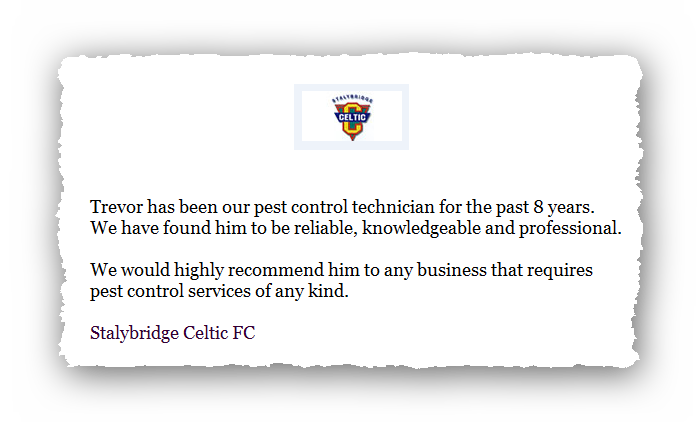 This is an image of a commercial testimonial from Stalybridge Celtic FC for Pest Control Glossop.