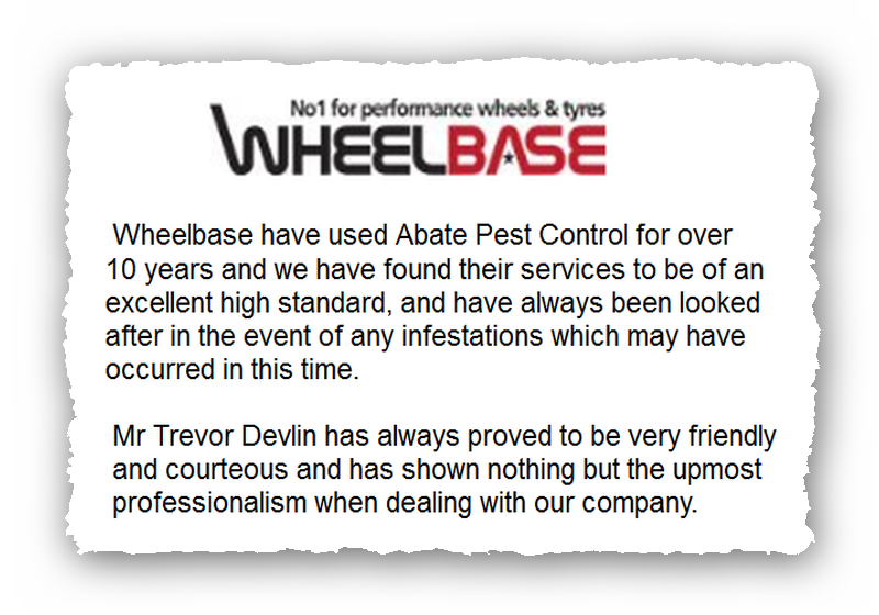 This is an image of a commercial testimonial from Wheelbase for Pest Control Glossop.